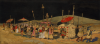 Sheringham, George (1884-1937): Oriental Procession, signed, gouache and ink on silk on board, 16 x 34 cms.