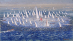 Whicker, Fred (1901-1966): Sailing boats, signed, oil on board, 40.5 x 71 cms. Presented by the executors of Fred Whicker.