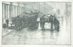 Thomson, Louis (Louisa) (born 1883): A London Coal Cart, signed, lithograph print, 26 x 37 cms.