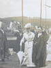 Falmouth town clerk, E.E. Armitage receiving visitors on the Prince of Wales Pier, photograph, 24 x 19 cms.