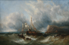 Williamson, William Henry (1820-1883): Collecting Wreckage - A shipping scene, signed and dated 1857, oil on canvas, 49.5 x 74.5 cms. Presented by Alfred A. De Pass.