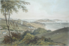 Falmouth, Pendennis Castle etc (from near the cemetery), publisher: Tregoning, E.S., lithographer: Newman and Co, tinted lithograph, 29.8 x 43.2 cms. Presented by the Misses Pearse Jenkin of Trewirgie House, Redruth through their nephew Mr G.K.Hamilton Jenkin.