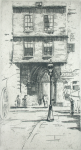 Thomson, Louis (Louisa) (born 1883): Entrance to St Bartolomew's, London 1937, signed, etching, 28.2 x 17.5 cms.