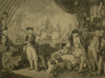 Brown, Mather Byles (1761-1831): The Quarter Deck of the Queen Charlotte 1 June 1794, engraver: Orme, Daniel, stipple engraving, 44.5 x 59 cms. Presented by Alfred A. De Pass.