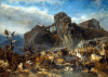Palizzi, Filippo (1818-1899): The Animals leaving the Ark; Mount Ararat, oil on canvas, 102 x 144 cms. Presented by James Olivey Esq in memory of his father, Richard Olivey, Paymaster RN.