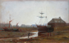 Richardson, John Thomas (1860-1942): The Bar Pool and Boat Building Yard at low tide, Falmouth, signed and dated 1912, oil on card, 19.5 x 30.5 cms. Presented by the artist's wife 1939.