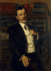 Unknown artist (early 20th century): Portrait of a Man - thought to be Mr Armitage, the Town Clerk of Falmouth, signed and dated 1906, inscribed signed with a monogram and dated 1906, oil on canvas, 99 x 77 cms.