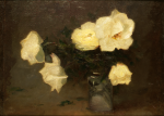 Richardson, John Thomas (1860-1942): Vase with White Roses;, signed and dated 1913, oil on canvas backed by board, 28.5 x 38 cms.
