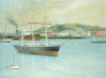 Holgate, Thomas Wood 1869-1954: The Cutty Sark in Falmouth Harbour, signed, oil on canvas, 25 x 34.5 cms. Presented by T.W Holgate.