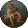 Cipriani, Giovanni Battista RA (1727-1785): Two Putti, oil on paper adhered to wood, 20 cms diameter. Presented by De Pass, Alfred A.