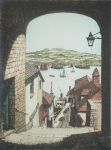 Stant, J.Lewis (working 1931-1955): Barrack Quay, Falmouth, signed, coloured etching, 30 x 22.5 cms.