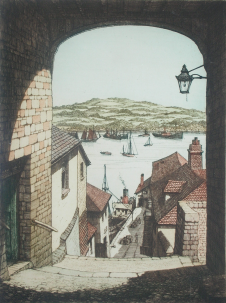 Picture of Stant, J.Lewis (working 1931-1955): Barrack Quay, Falmouth, signed, coloured etching, 30 x 22.5 cms.. FAMAG 1000.37