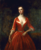 A Lady in a red dress, oil on canvas, 129.5 x 107 cms.