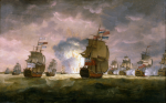 Luny, Thomas (1759-1837): Rodney's Victory off Cape St Vincent, signed, oil on canvas, 53 x 84 cms. Presented by Alfred A. de Pass.