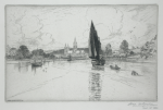 Goolden, Fred W. (fl.1908-1918): Truro Cathedral from the river, signed and dated 1916, inscribed signed and dated on plate and signed in pencil, etching, 13.7 x 21 cms.