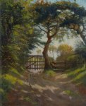 Richardson, John Thomas (1860-1942): Field Path, Penmere Hill, Falmouth, signed and dated 1909, oil on canvas, 61 x 51 cms.