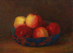 Richardson, John Thomas (1860-1942): Bowl and apples, signed and dated 1915, oil on board, 27 x 35.5 cms.