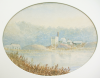Leslie, R.C. Lt RN (working 1880-1894): An old mine, Swanpool, Falmouth, signed and dated 1894, watercolour, 25 x 43.5 cms (oval).