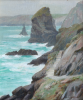 Holgate, Thomas Wood 1869-1954: Bedruthan Steps, signed, oil on canvas, 29 x 24 cms.