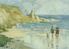 Clarke, Rowena: Study of Beach Scenes verso:the same, signed and dated 1947, watercolour on paper, 25 x 31 cms.
