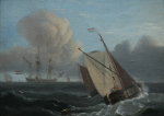 Luny, Thomas (1759-1837): Dutch Boats Racing, signed, oil on panel, 30 x 21.8 cms. Presented by De Pass, Alfred A.