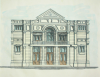Tresidder, H.E. (fl.1931): A design for a facade of a building, signed and dated 1931, inscribed H. E. Tresidder F.S.I boro engineer Feb 1931 F.B.S, watercolour and ink, 27 x 28.8 cms.
