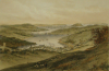 Unknown artist: Penryn, Flushing and Falmouth Harbour (From the Old Helston Road), lithographer: Newman, J and Co, printer: Tregoning, E.S., lithograph, 30 x 44 cms.
