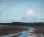 Osborn(e), William Evelyn (1868-1906): Hayle Flats, signed, signed 'W.Osborne' and inscribed 'To A.M.T.', oil on canvas, 51 x 61 cms. Presented to the Corporation of Falmouth in 1923 by Alfred A. de Pass, in memory of his sons.