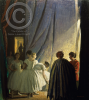 Knight, Dame Laura DBE RA RWS (1877-1970): In the Coulisse - Behind the Scenes, signed, signed and inscribed 'In the Coulisse', oil on panel, 63 x 57 cms. Presented to the Corporation of Falmouth in 1923 by Alfred A. de Pass, in memory of his sons. © The Estate of Dame Laura Knight.