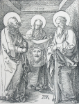 Durer, Albrecht (1471-1528): The Veronica Cloth - 'The Sudarium of St Veronica (The Little Passion), signed and dated 1510, inscribed signed and dated on plate, wood engraving, 12.8 x 9.9 cms. Presented to the Corporation of Falmouth in 1923 by Alfred A. de Pass, in memory of his sons.