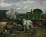 Munnings, Sir Alfred PRA RWS (1878-1959): The Caravan, signed, oil on canvas, 50 x 60 cms. Presented to the Corporation of Falmouth in 1923 by Alfred A. de Pass, in memory of his sons. © Castle House Trust, The Sir Alfred Munnings Art Museum.