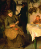 Tuke, Henry Scott, RA RWS (1858-1929): The Message, signed and dated 1890, inscribed signed twice and dated 1890, oil on canvas, 100 x 89.5 cms. Presented to the Corporation of Falmouth by Alfred A. De Pass, in memory of his sons.