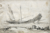 de la Rose, Jean Baptiste (1612-1687): African Slave Galley, pen and ink wash on vellum, 18.1 x 26.7 cms. Presented by Alfred A. de Pass in August, 1939.