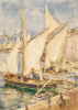 Tuke, Henry Scott, RA RWS (1858-1929): St Tropez, signed, inscribed signed, watercolour on paper, 35.4 x 25.5 cms.