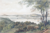 Newman and Co: Falmouth Town & Harbour (from near Tregew), publisher: Tregoning, E.S., tinted lithograph, 29.5 x 43.7 cms. Presented by the Misses Pearse Jenkin through Mr G.K. Hamilton Jenkin 31 August 1945.