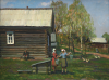 Bondarenko, Youri (born 1952): A Russian Rural Scene, signed, oil on hardboard, 29.5 x 39.5 cms.