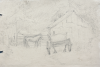 Martin, William A. (1899-1988): Sketch of barn, pencil, 14.9 x 23 cms. Presented by Moss, Ruth. Bequest.