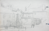 Martin, William A. (1899-1988): Sketch of town scene with monument, pencil, 15 x 22.9 cms. Presented by Moss, Ruth. Bequest.