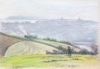 Martin, William A. (1899-1988): Fields with figure, pastels, 15 x 22.1 cms. Presented by Moss, Ruth. Bequest.