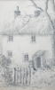 Martin, William A. (1899-1988): Thatched cottage with gate, pencil, 11.3 x 17.5 cms. Presented by Moss, Ruth. Bequest.