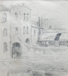Martin, William A. (1899-1988): Waterfront buildings, pencil, 15 x 13.5 cms. Presented by Moss, Ruth. Bequest.