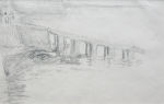 Martin, William A. (1899-1988): Jetty, pencil, 11.4 x 17.5 cms. Presented by Moss, Ruth. Bequest.