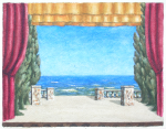 Martin, William A. (1899-1988): Theatre set design, watercolour, 22.1 x 27.8 cms. Presented by Moss, Ruth. Bequest.