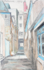 Martin, William A. (1899-1988): Alleyway with lamp, dated 1973, coloured pencil, 14.1 x 22.9 cms. Presented by Moss, Ruth. Bequest.