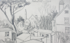 Martin, William A. (1899-1988): House scene with tall trees, dated 1973, pencil, 14 x 22.9 cms. Presented by Moss, Ruth. Bequest.