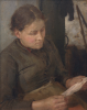Tuke, Henry Scott, RA RWS (1858-1929): Study for the Message - Mrs Fouracre, signed and dated 1890, oil on panel, 28 x 20 cms. Purchased in 1997 with grant-aid from the NACF, V & A Purchase Grant Fund, Cornwall Heritage Fund and a donation from George Bednar.
