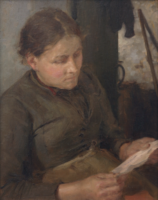 Picture of Tuke, Henry Scott, RA RWS (1858-1929): Study for the Message - Mrs Fouracre, signed and dated 1890, oil on panel, 28 x 20 cms. Purchased in 1997 with grant-aid from the NACF, V & A Purchase Grant Fund, Cornwall Heritage Fund and a donation from George Bednar.. FAMAG 1997.1