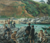 Martin, Wallace (1903-1992): Falmouth Grammar School swimming sports at Sunny Cove, near Swanpool, Falmouth 1951, signed and dated 1951, oil on board, 39 x 45 cms. Presented by Mrs Bettyanne Tribe.