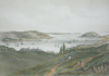 Falmouth Harbour and Flushing from Beacon Hill, publisher: Tregoning, E., lithographer: Newman and Co, lithograph, 29 x 37 cms.