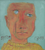 Dyson, Julian (1936-2003): Self portrait - after being diagnosed with throat cancer, signed and dated 2000, acrylic, 31.2 x 28 cms. Presented by Derek Holman, H.Tiddy & Sons, Estate Agents, St   Mawes.